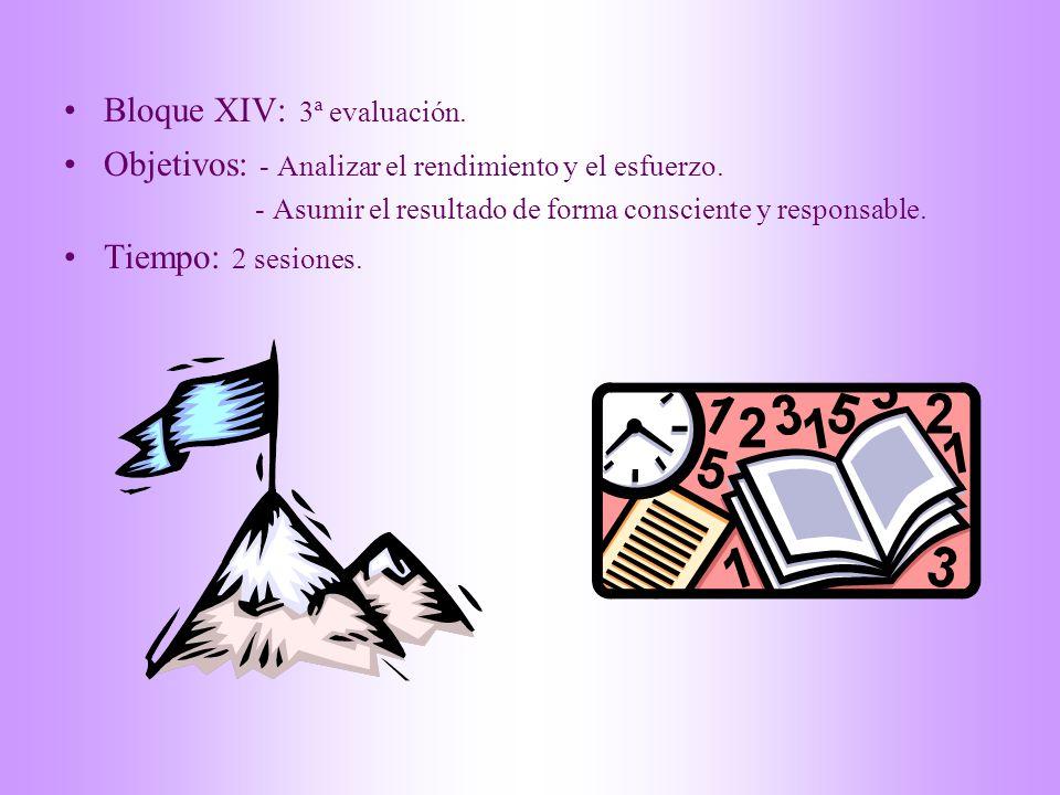 Bloque XIV: 3ª evaluación. Objetivos: - Analizar el rendimiento y el esfuerzo. - Asumir el resultado de forma consciente y responsable. Tiempo: 2 sesi