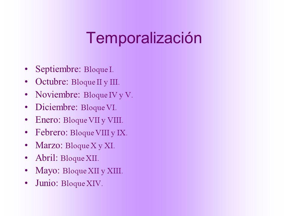 Temporalización Septiembre: Bloque I. Octubre: Bloque II y III. Noviembre: Bloque IV y V. Diciembre: Bloque VI. Enero: Bloque VII y VIII. Febrero: Blo