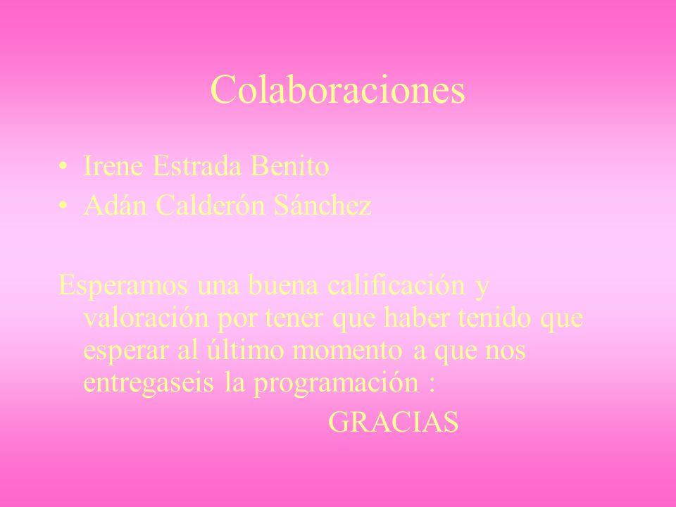 Colaboraciones Irene Estrada Benito Adán Calderón Sánchez Esperamos una buena calificación y valoración por tener que haber tenido que esperar al últi