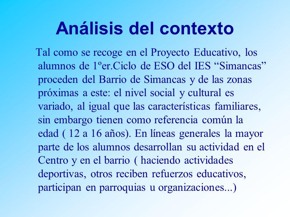 Análisis del contexto Tal como se recoge en el Proyecto Educativo, los alumnos de 1ºer.Ciclo de ESO del IES Simancas proceden del Barrio de Simancas y