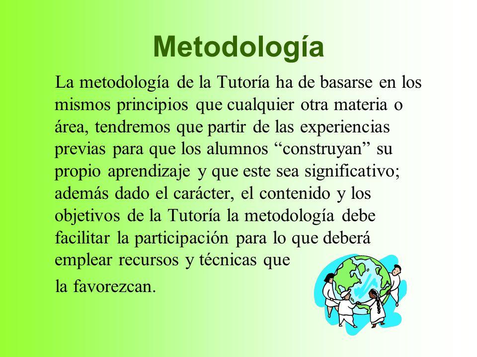 Metodología La metodología de la Tutoría ha de basarse en los mismos principios que cualquier otra materia o área, tendremos que partir de las experie