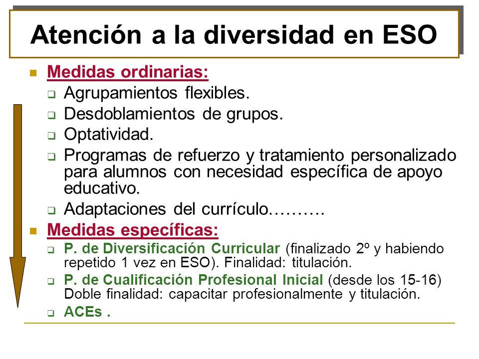 Desfase curricular con motivación: Diversificación Curricular.
