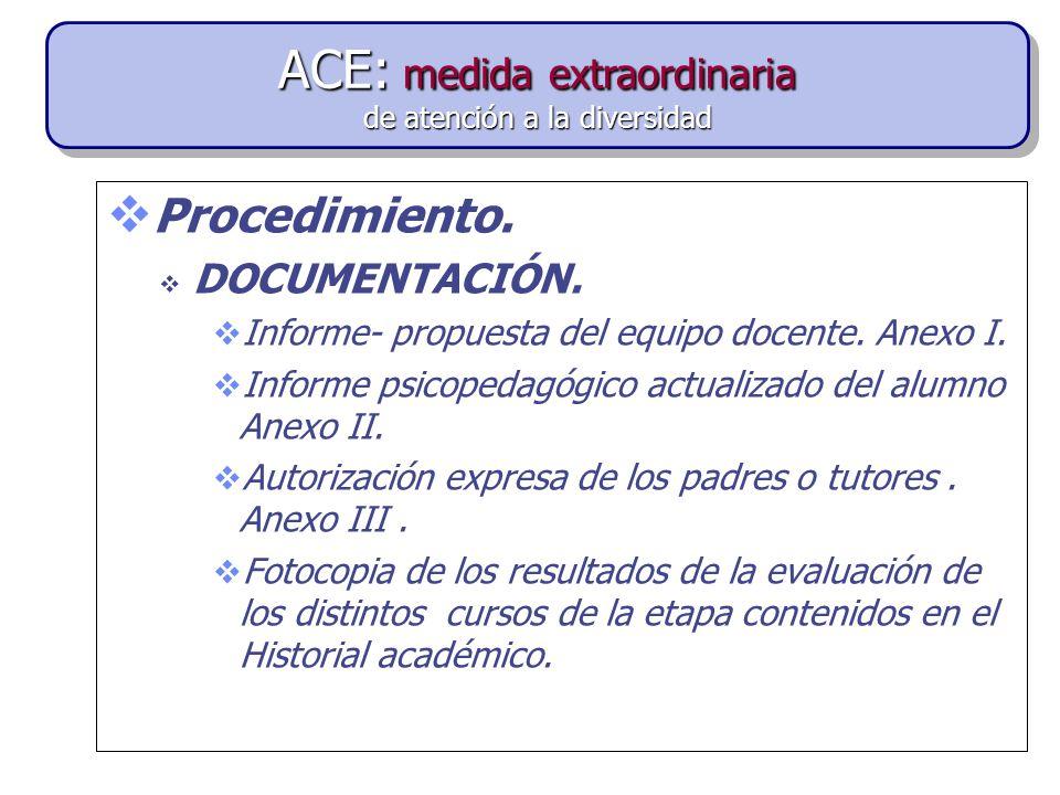 Procedimiento.DOCUMENTACIÓN. Informe- propuesta del equipo docente.