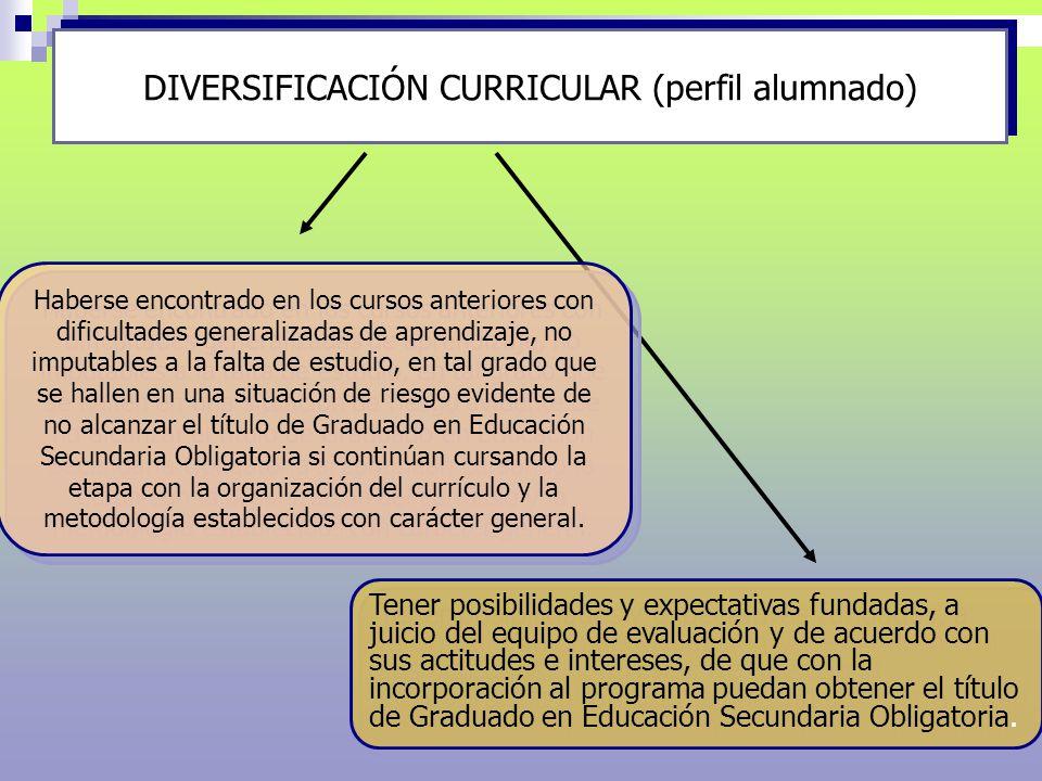 DIVERSIFICACIÓN CURRICULAR Para alumnos que están en 2º de E.S.O.: - No estar en condiciones de promocionar a tercero.