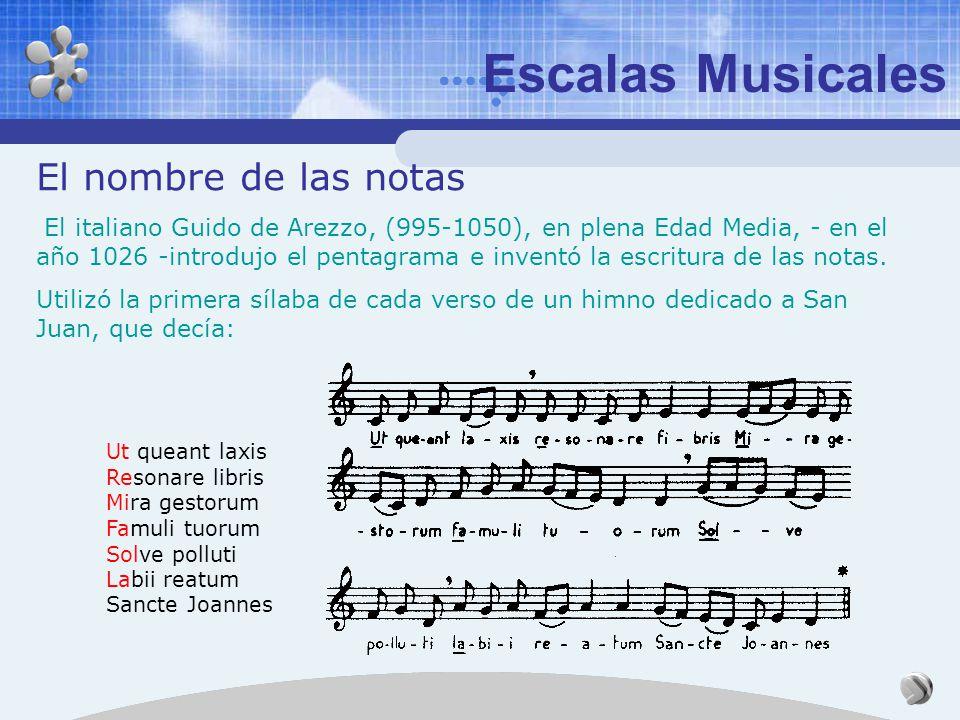 Los intervalos musicales pueden medirse en términos de la relación de frecuencias de los sonidos, aunque en música reciben nombres propios. Escalas Mu