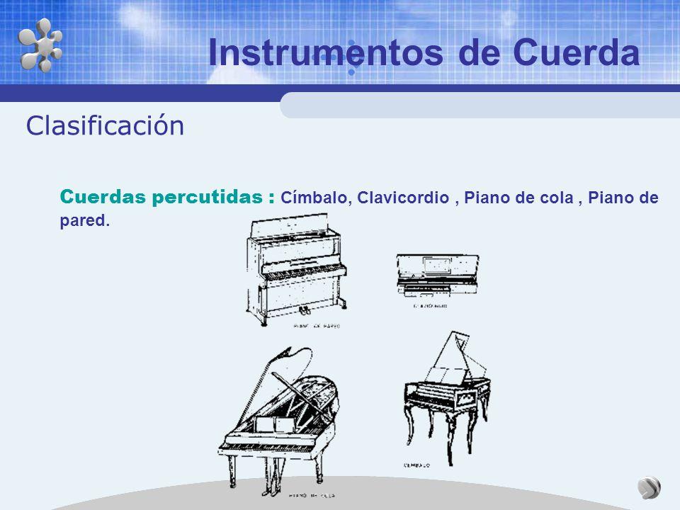 Instrumentos de Cuerda Clasificación Cuerdas pulsadas : Arpa, Clavicémbalo, Cítara, Clavecín, Guitarra, acústica, Laúd.