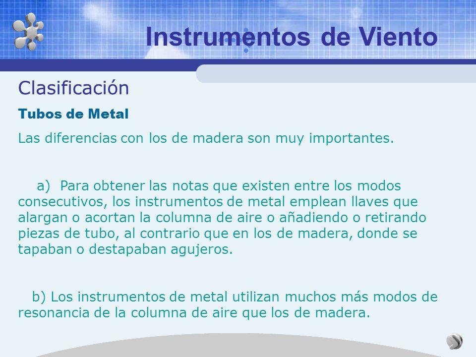 Instrumentos de Viento Clasificación Tubos de Madera Según la fuente sonora: a) La flauta y sus derivados, que utilizan una corriente de aire oscilant