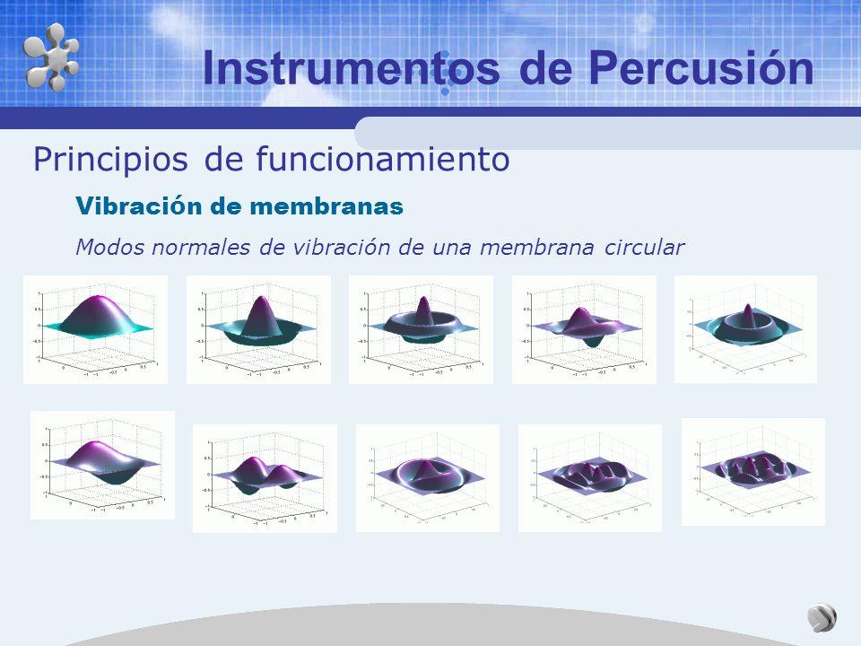 Principios de funcionamiento Vibraci ó n de membranas Puntos nodales de la cuerda líneas nodales en la membrana Ondas lineales en la cuerda ondas supe