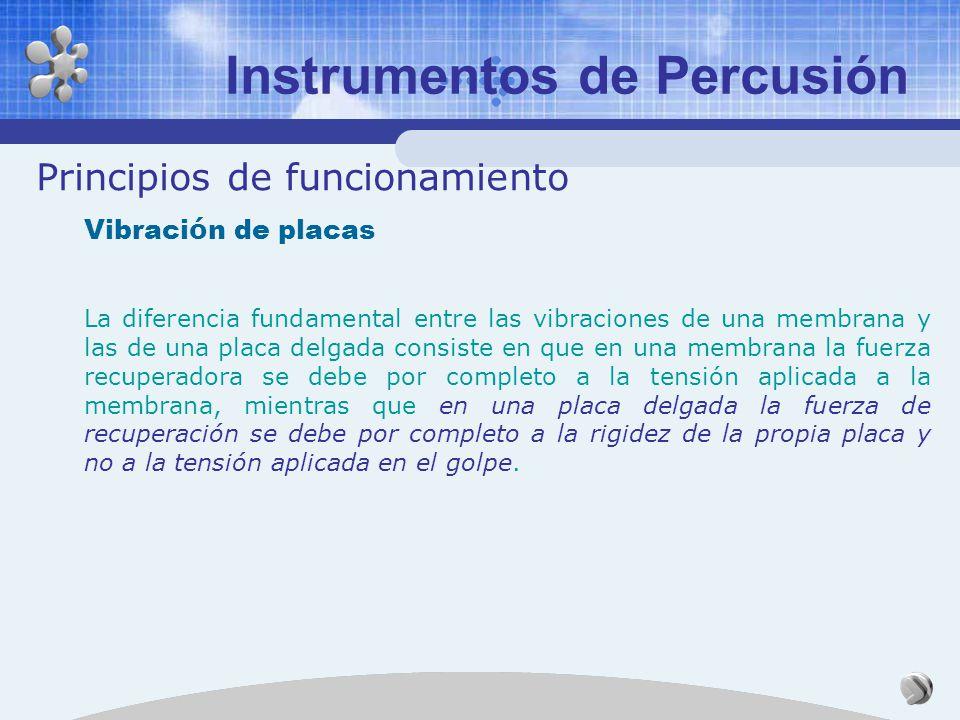 Principios de funcionamiento Vibraci ó n de membranas Algunos modos de vibración de un timbal Instrumentos de Percusión