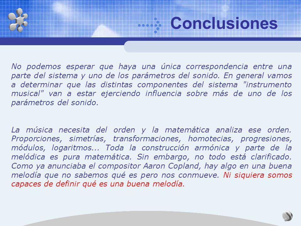 Conclusiones Hemos visto sólo una serie de normas generales. Complejidad de la organología: cada instrumento es diferente, incluso dentro de la misma