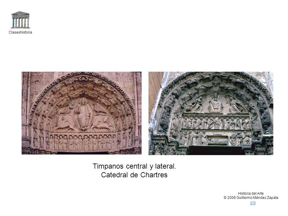 Claseshistoria Historia del Arte © 2006 Guillermo Méndez Zapata Esculturas románicasEsculturas góticas Jambas de la catedral de Chartres