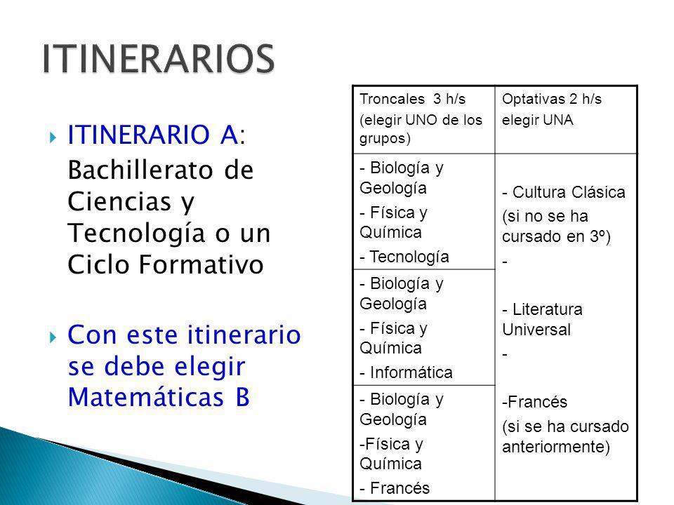 TRONCALES: - 9 h/semanales - 3 asignaturas (3h) Troncales 3 h/s (elegir TRES asignaturas de UNO de los grupos,) Optativas 2 h/s elegir UNA - Biología y Geología - Física y Química - Tecnología - Informática -- Francés - Cultura Clásica -(si no se ha cursado en 3º) - Francés (si se ha cursado anteriormente) - Literatura Universal -- Iniciación a la vida laboral - Latín - Música - Informática - Francés - Tecnología - Educación Plástica y Visual - Música