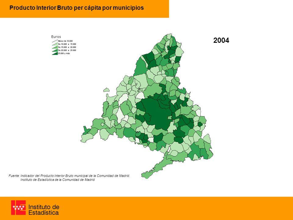 Producto Interior Bruto per cápita por municipios 63% 96% 2004 Fuente: Indicador del Producto Interior Bruto municipal de la Comunidad de Madrid.