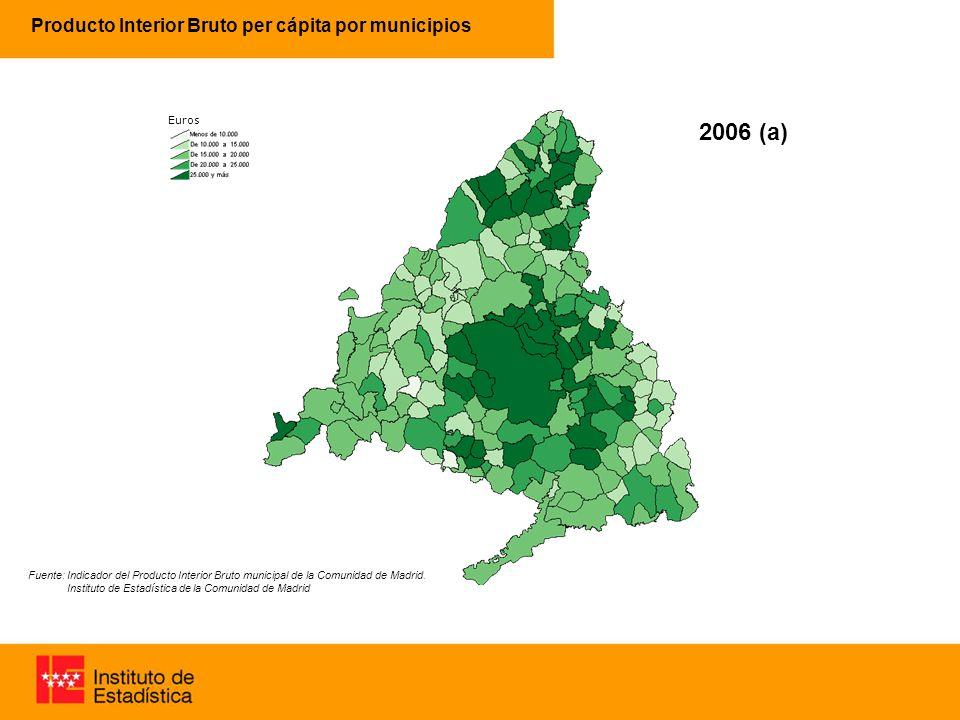 Producto Interior Bruto per cápita por municipios 63% 96% 2005 (p) Fuente: Indicador del Producto Interior Bruto municipal de la Comunidad de Madrid.