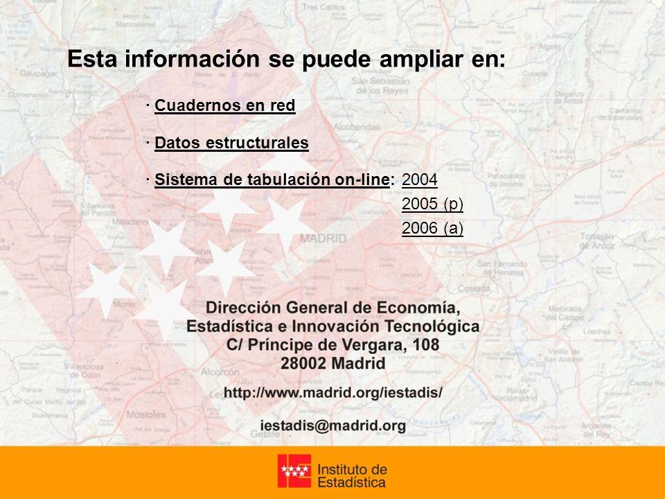 Esta información se puede ampliar en: · Cuadernos en red · Datos estructurales · Sistema de tabulación on-line: 2004 2005 (p) 2006 (a)
