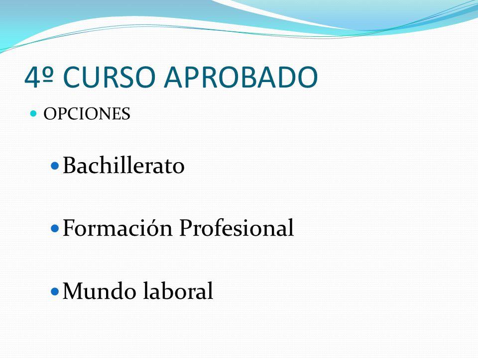4º CURSO APROBADO OPCIONES Bachillerato Formación Profesional Mundo laboral