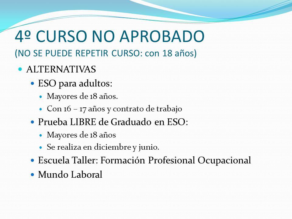 4º CURSO NO APROBADO (NO SE PUEDE REPETIR CURSO: con 18 años) ALTERNATIVAS ESO para adultos: Mayores de 18 años. Con 16 – 17 años y contrato de trabaj