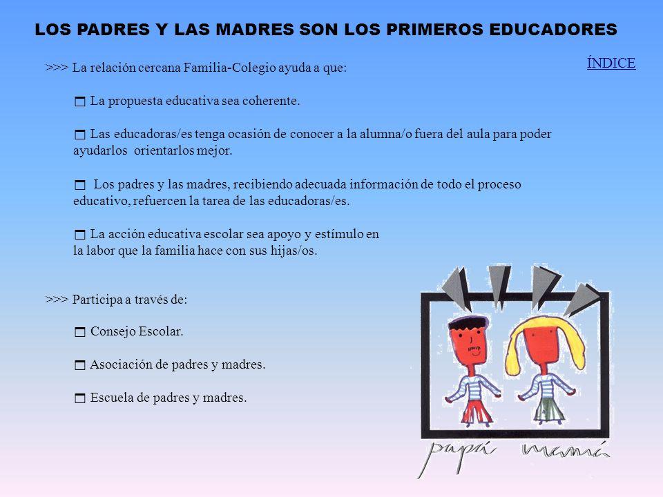 La propuesta educativa sea coherente. Las educadoras/es tenga ocasión de conocer a la alumna/o fuera del aula para poder ayudarlos orientarlos mejor.