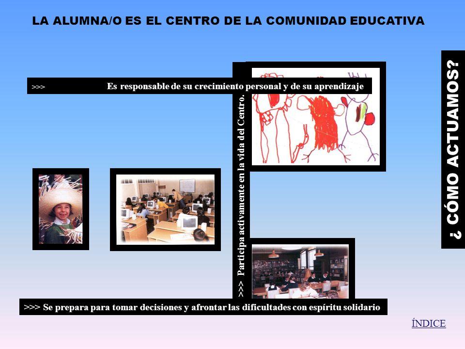 EL PROFESORADO ASUME UNA ESPECIAL RESPONSABILIDAD EN LA EDUCACIÓN DE LAS ALUMNAS/OS Y EN LA CONSOLIDACIÓN DE LA COMUNIDAD EDUCATIVA >>Acogen al alumno/a, lo valoran y lo ayudan a crecer en todas sus dimensiones.