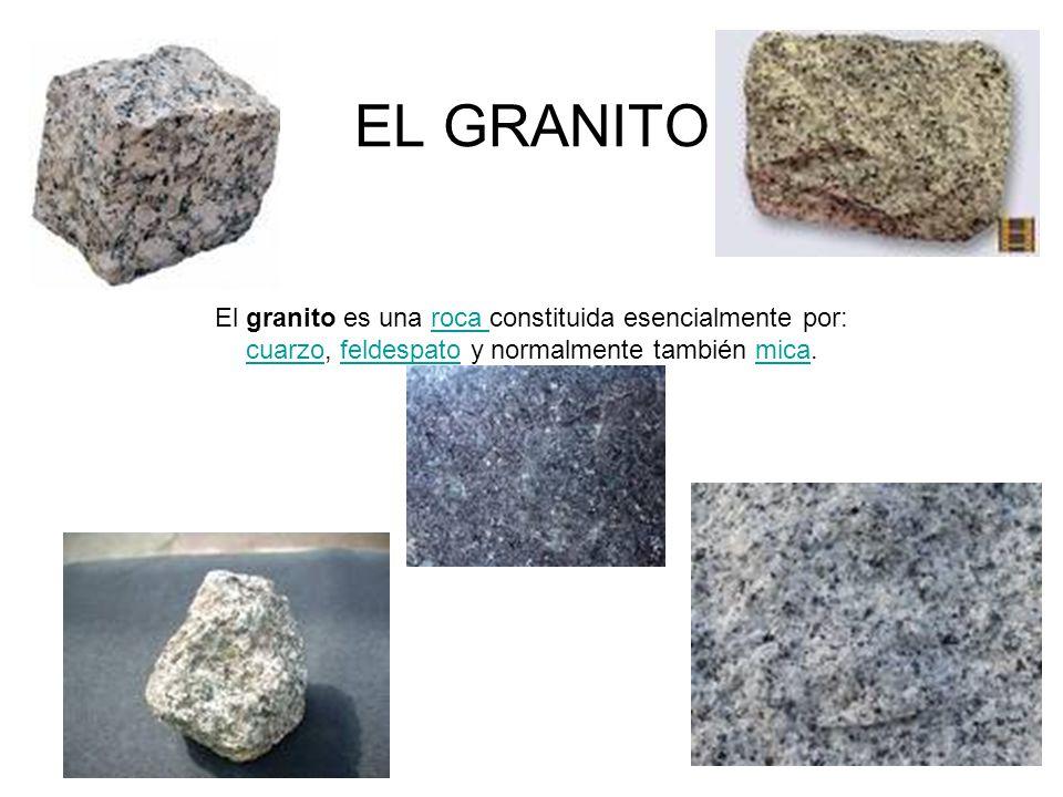 EL GRANITO El granito es una roca constituida esencialmente por: cuarzo, feldespato y normalmente también mica.roca cuarzofeldespatomica