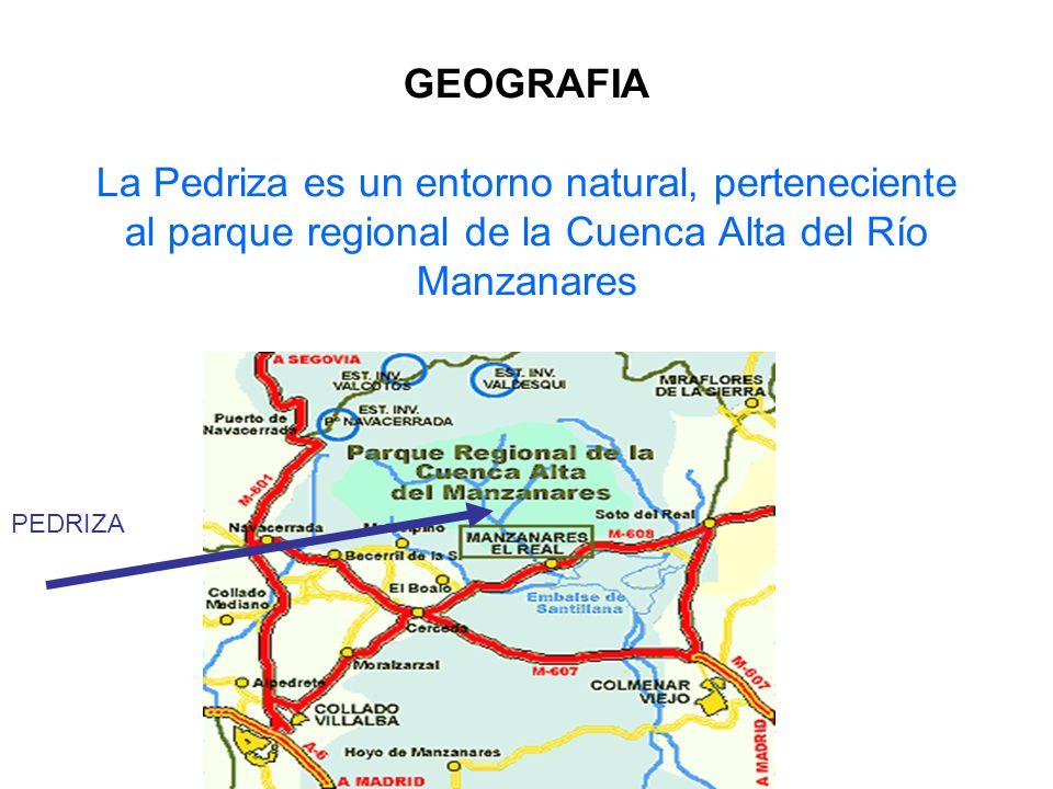 GEOGRAFIA La Pedriza es un entorno natural, perteneciente al parque regional de la Cuenca Alta del Río Manzanares PEDRIZA