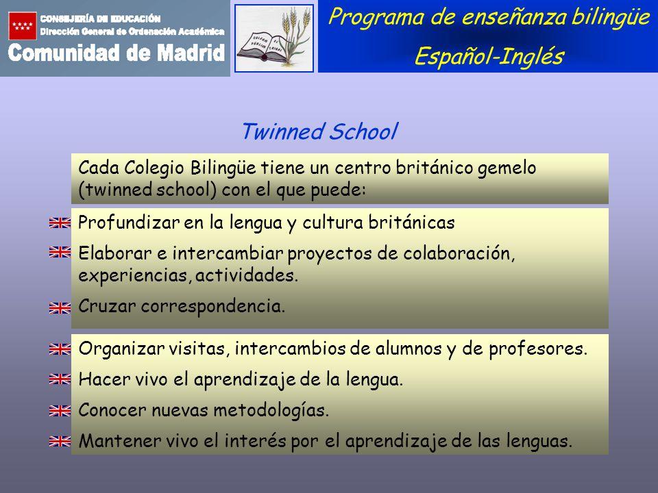 Programa de enseñanza bilingüe Español-Inglés Profundizar en la lengua y cultura británicas Elaborar e intercambiar proyectos de colaboración, experie