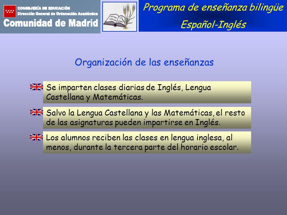 Organización de las enseñanzas Se imparten clases diarias de Inglés, Lengua Castellana y Matemáticas. Programa de enseñanza bilingüe Español-Inglés Sa