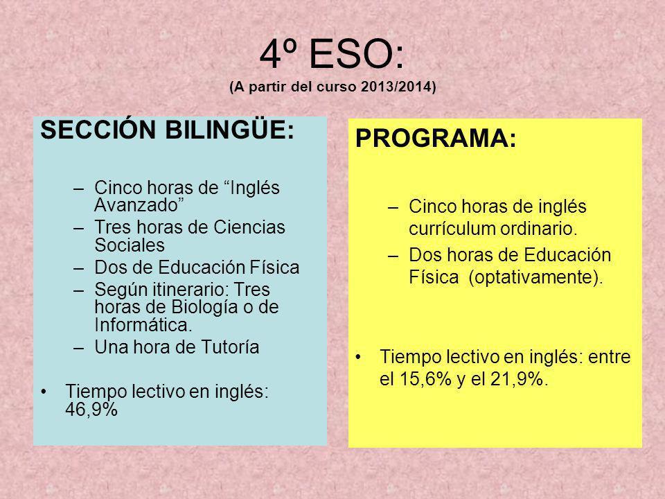 4º ESO: (A partir del curso 2013/2014) SECCIÓN BILINGÜE: –Cinco horas de Inglés Avanzado –Tres horas de Ciencias Sociales –Dos de Educación Física –Se