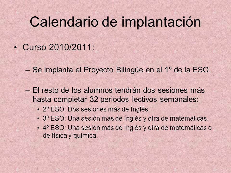 Calendario de implantación Curso 2010/2011: –Se implanta el Proyecto Bilingüe en el 1º de la ESO. –El resto de los alumnos tendrán dos sesiones más ha