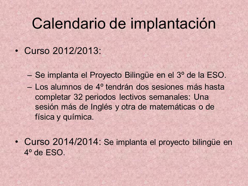 Calendario de implantación Curso 2012/2013: –Se implanta el Proyecto Bilingüe en el 3º de la ESO. –Los alumnos de 4º tendrán dos sesiones más hasta co