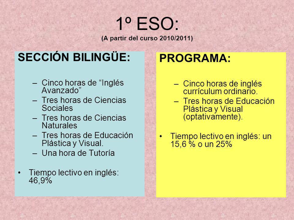 2º ESO: (A partir del curso 2011/2012) SECCIÓN BILINGÜE: –Cinco horas de Inglés Avanzado –Cuatro horas de Ciencias Sociales –Tres horas de Ciencias Naturales –Dos horas de Educación Física.