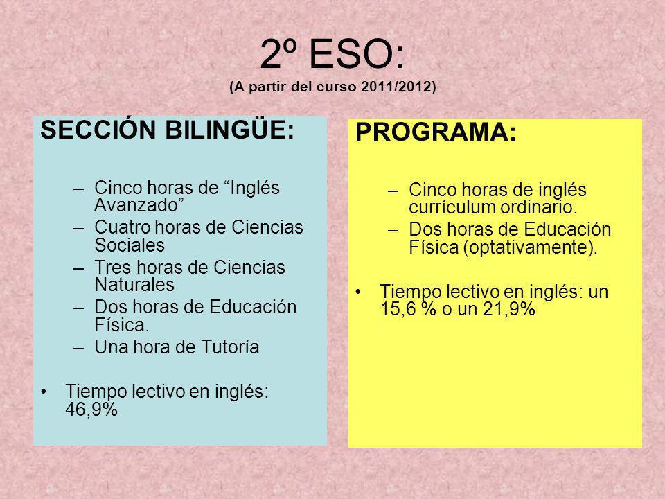 3º ESO: (A partir del curso 2012/2013) SECCIÓN BILINGÜE: –Cinco horas de Inglés Avanzado –Tres horas de Ciencias Sociales –Dos de Ciencias Naturales –Tres horas de Tecnologías.