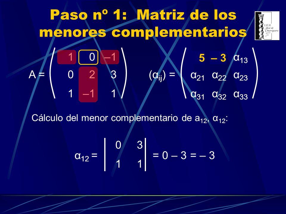 10–1 023 1 1 A = Paso nº 1: Matriz de los menores complementarios α 11 α 12 α 13 α 21 α 22 α 23 α 31 α 32 α 33 (α ij ) = Cálculo del menor complementa