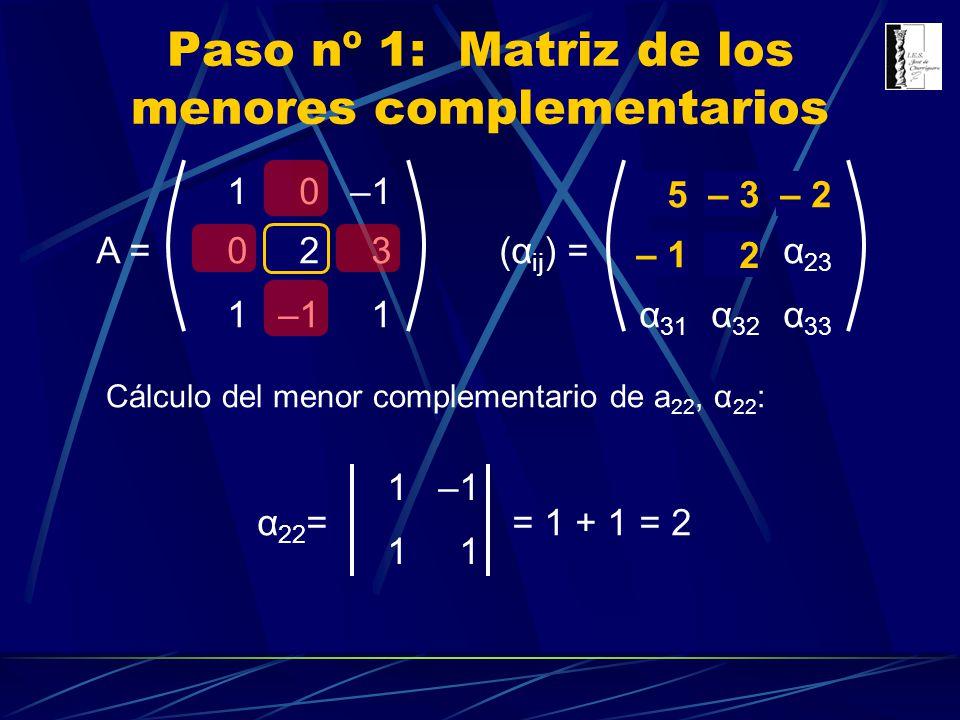 10 023 1 1 A = Paso nº 1: Matriz de los menores complementarios α 11 α 12 α 13 α 21 α 22 α 23 α 31 α 32 α 33 (α ij ) = Cálculo del menor complementari