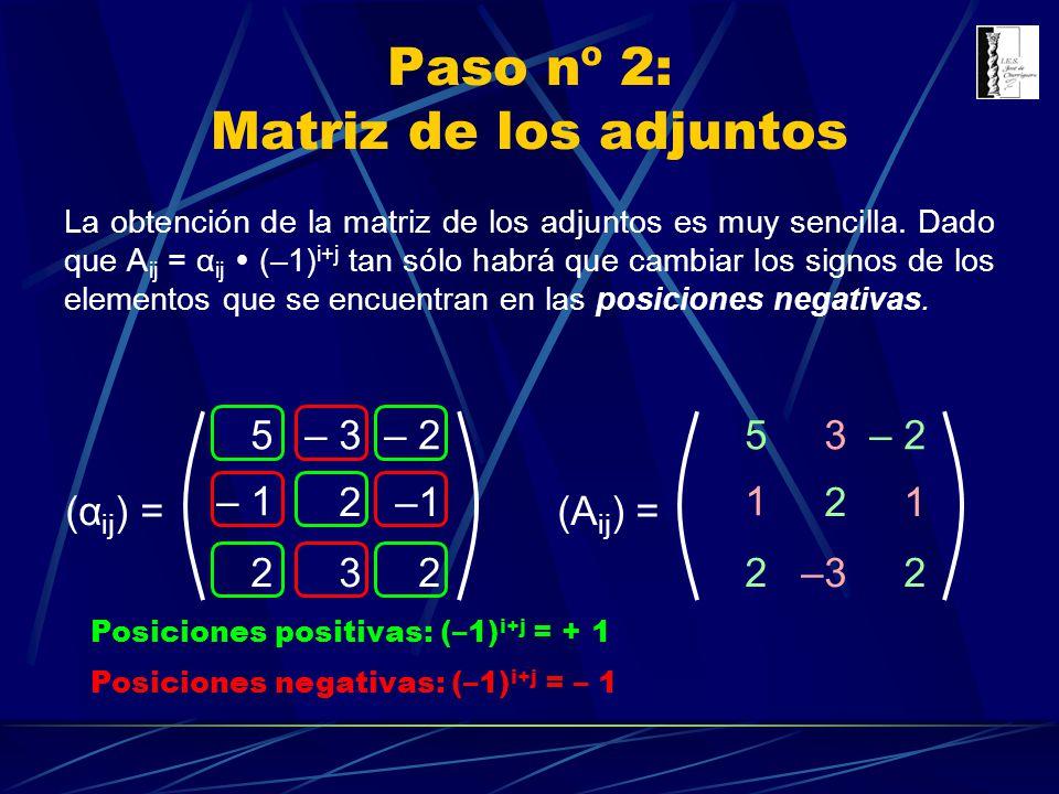 Paso nº 2: Matriz de los adjuntos (α ij ) = – 35– 2 – 1 2 232 La obtención de la matriz de los adjuntos es muy sencilla. Dado que A ij = α ij (–1) i+j
