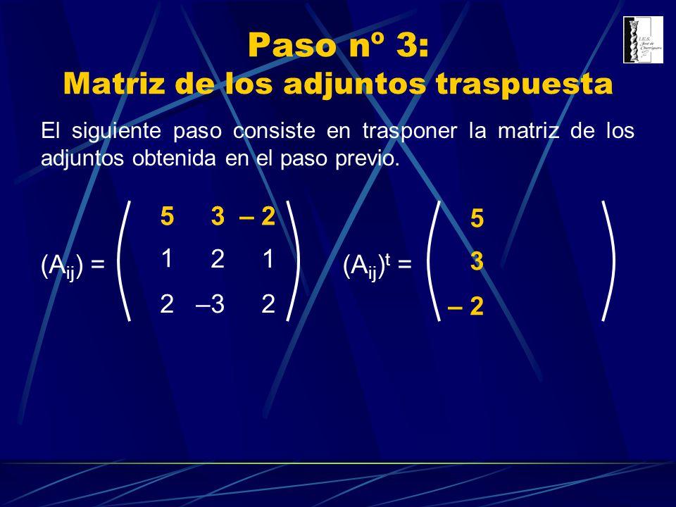 Paso nº 3: Matriz de los adjuntos traspuesta El siguiente paso consiste en trasponer la matriz de los adjuntos obtenida en el paso previo. (A ij ) = 3