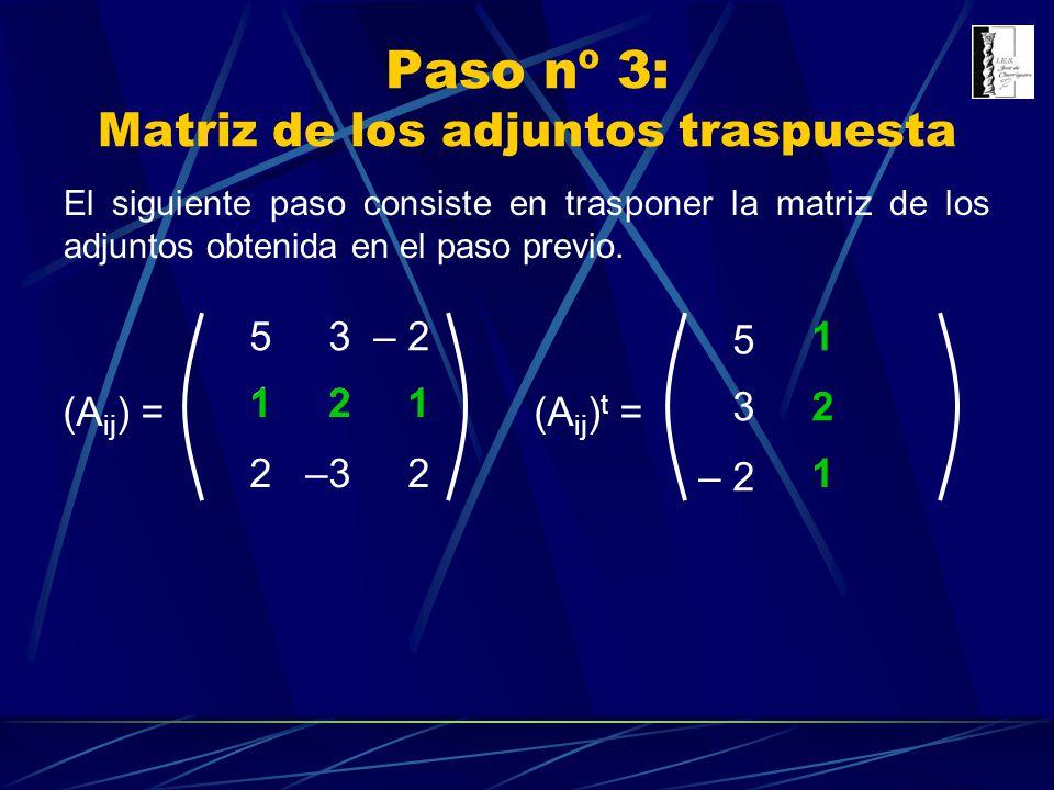 Paso nº 3: Matriz de los adjuntos traspuesta (A ij ) = 3 1 1 –3 5– 2 2 22 (A ij ) t = 211 3 5 – 2 2 1 1 El siguiente paso consiste en trasponer la mat