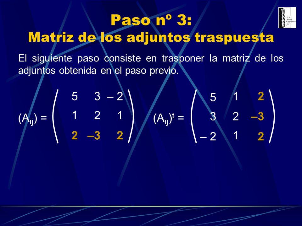 Paso nº 3: Matriz de los adjuntos traspuesta (A ij ) = 3 1 1 –3 5– 2 2 22 (A ij ) t = –322 3 5 – 2 2 1 1 –3 2 2 El siguiente paso consiste en traspone