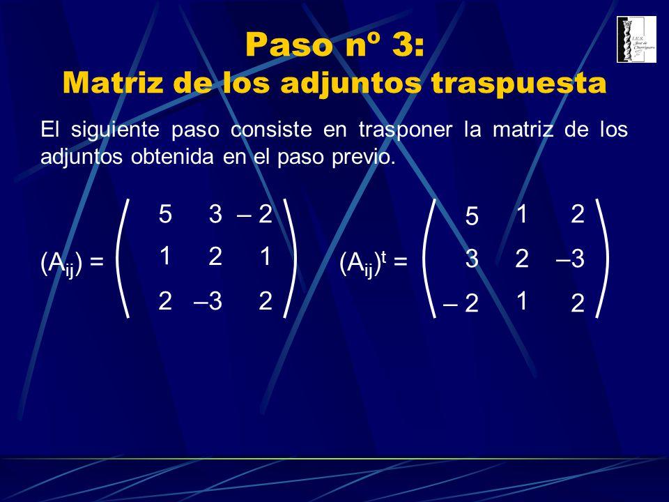 Paso nº 3: Matriz de los adjuntos traspuesta (A ij ) = 3 1 1 –3 5– 2 2 22 (A ij ) t = 3 5 – 2 2 1 1 –3 2 2 El siguiente paso consiste en trasponer la
