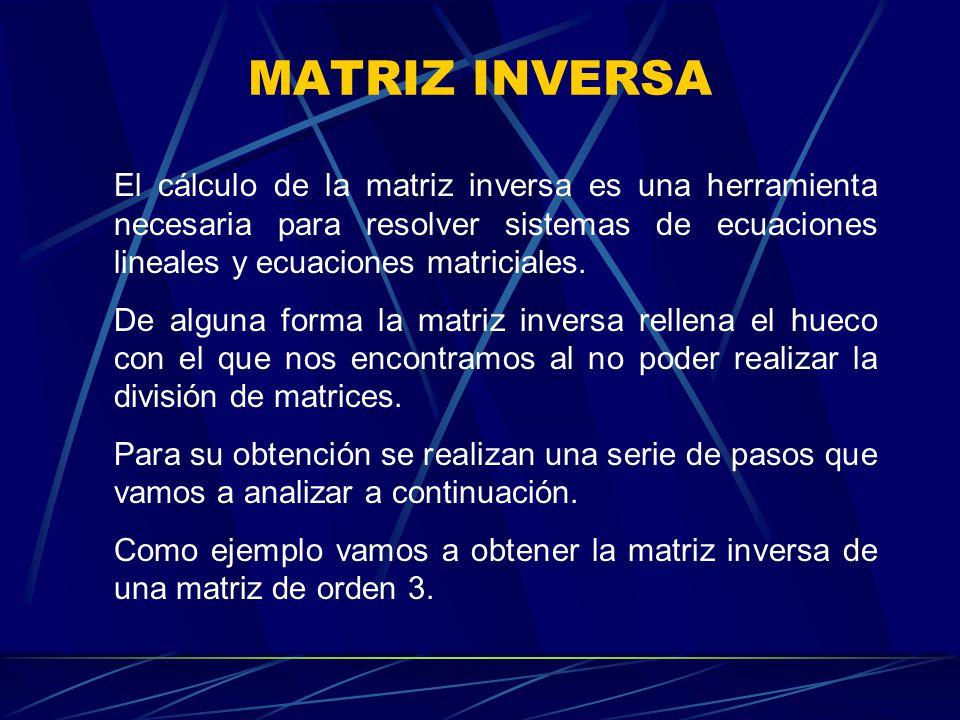 El cálculo de la matriz inversa es una herramienta necesaria para resolver sistemas de ecuaciones lineales y ecuaciones matriciales. De alguna forma l