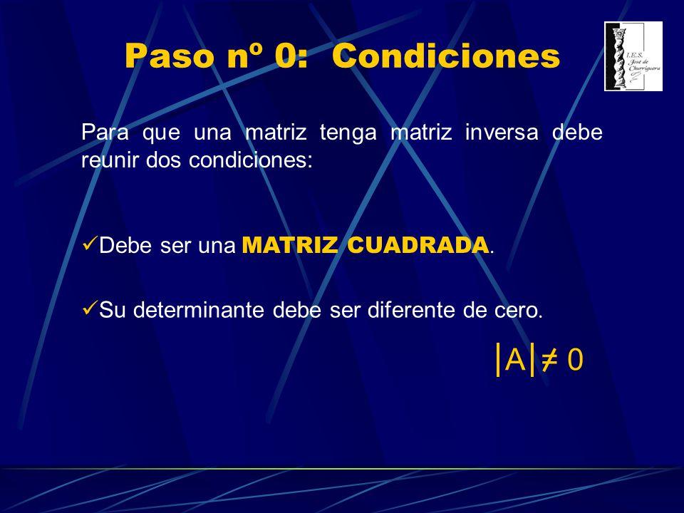 Paso nº 0: Condiciones Para que una matriz tenga matriz inversa debe reunir dos condiciones: Debe ser una MATRIZ CUADRADA. Su determinante debe ser di