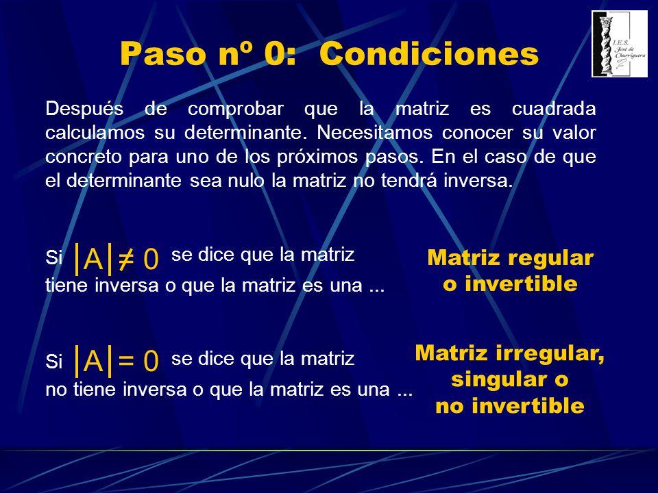 Paso nº 0: Condiciones Después de comprobar que la matriz es cuadrada calculamos su determinante. Necesitamos conocer su valor concreto para uno de lo