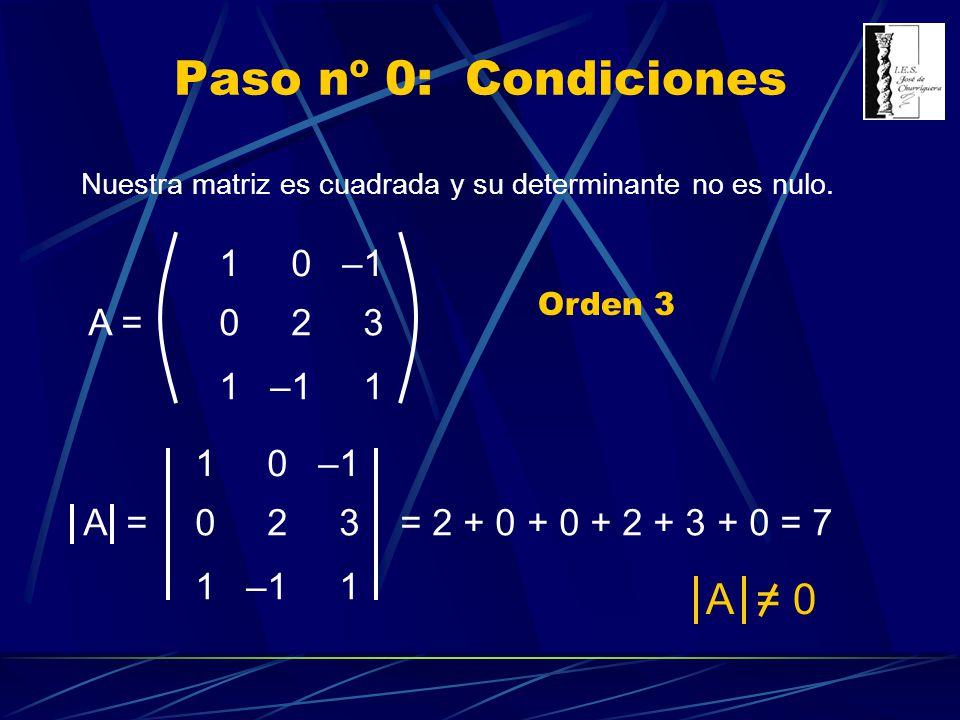 Nuestra matriz es cuadrada y su determinante no es nulo. 10–1 023 1 1 A = Paso nº 0: Condiciones Orden 3 10–1 023 1 1 A = = 2 + 0 + 0 + 2 + 3 + 0 = 7