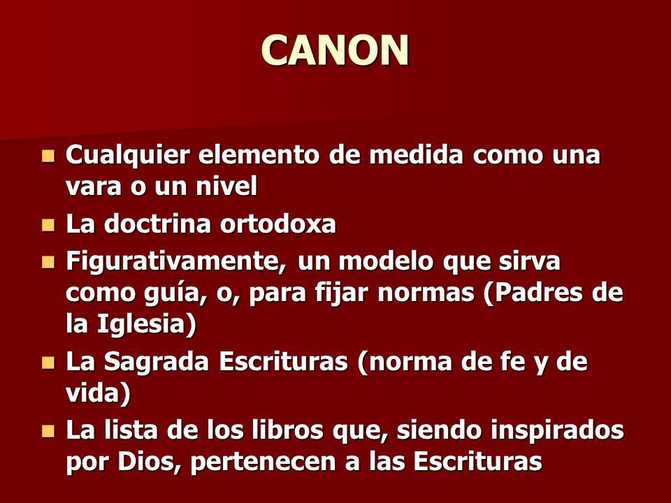 CANON Cualquier elemento de medida como una vara o un nivel Cualquier elemento de medida como una vara o un nivel La doctrina ortodoxa La doctrina ort