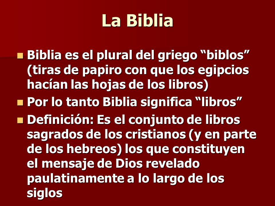 La Biblia Biblia es el plural del griego biblos (tiras de papiro con que los egipcios hacían las hojas de los libros) Biblia es el plural del griego b
