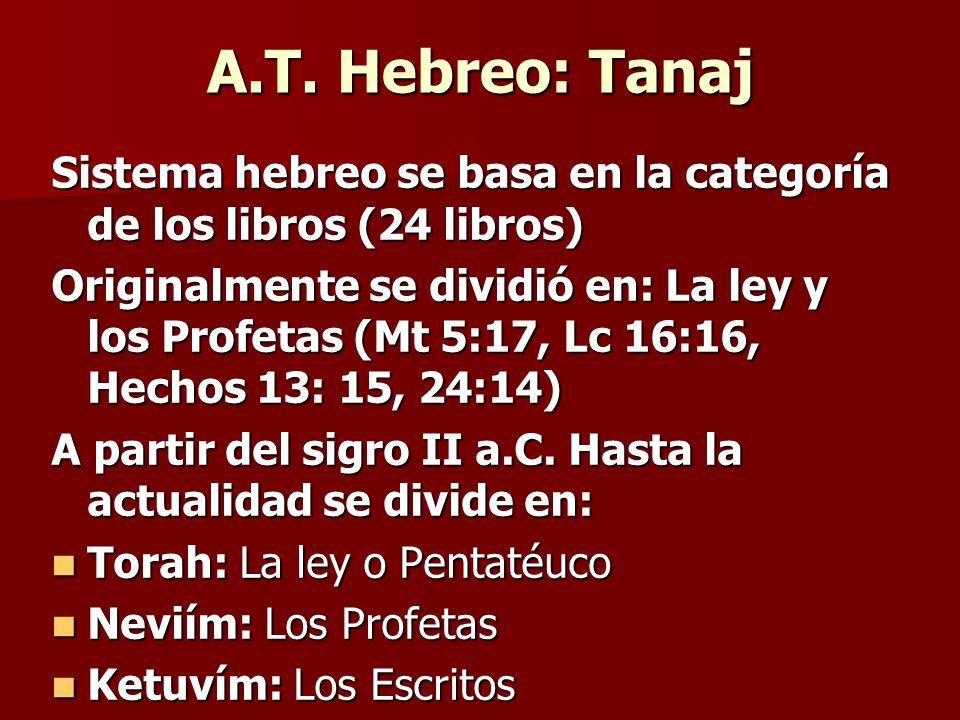 A.T. Hebreo: Tanaj Sistema hebreo se basa en la categoría de los libros (24 libros) Originalmente se dividió en: La ley y los Profetas (Mt 5:17, Lc 16