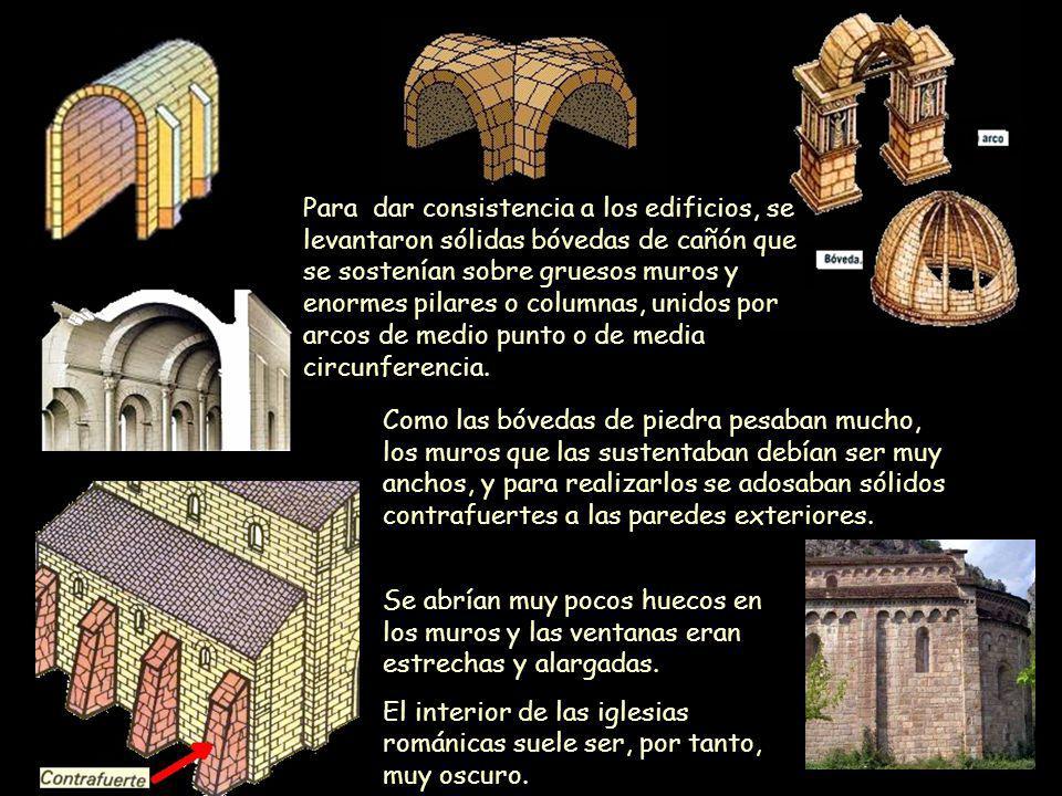 Mª Victoria Landa Se abrían muy pocos huecos en los muros y las ventanas eran estrechas y alargadas. El interior de las iglesias románicas suele ser,