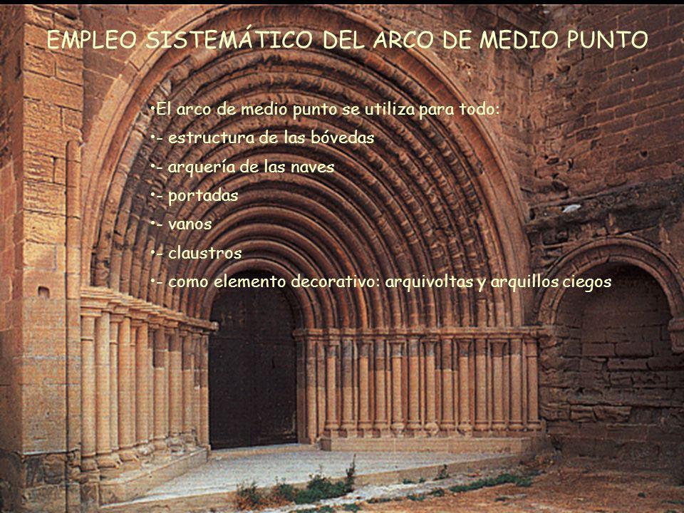 Mª Victoria Landa EMPLEO SISTEMÁTICO DEL ARCO DE MEDIO PUNTO El arco de medio punto se utiliza para todo: - estructura de las bóvedas - arquería de la