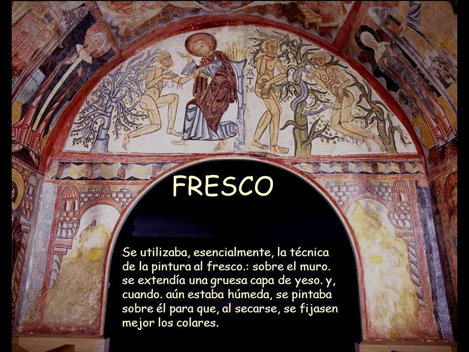 Mª Victoria Landa FRESCO Se utilizaba, esencialmente, la técnica de la pintura al fresco.: sobre el muro. se extendía una gruesa capa de yeso. y, cuan