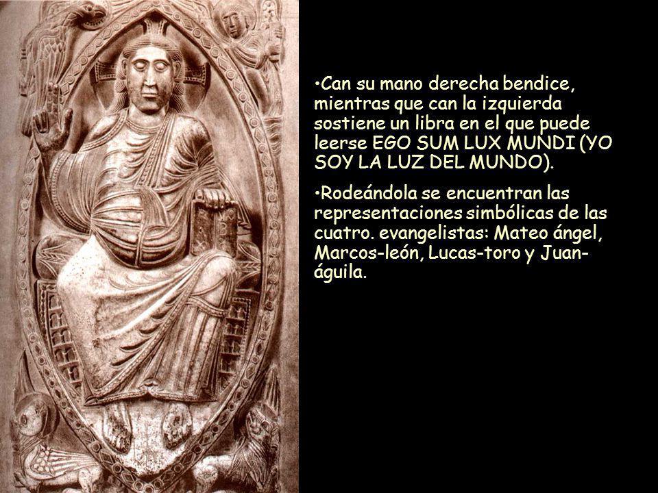 Mª Victoria Landa Can su mano derecha bendice, mientras que can la izquierda sostiene un libra en el que puede leerse EGO SUM LUX MUNDI (YO SOY LA LUZ